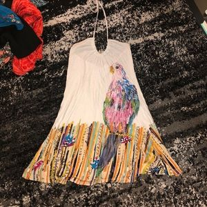 Halter dress with beautiful colorful bird pattern